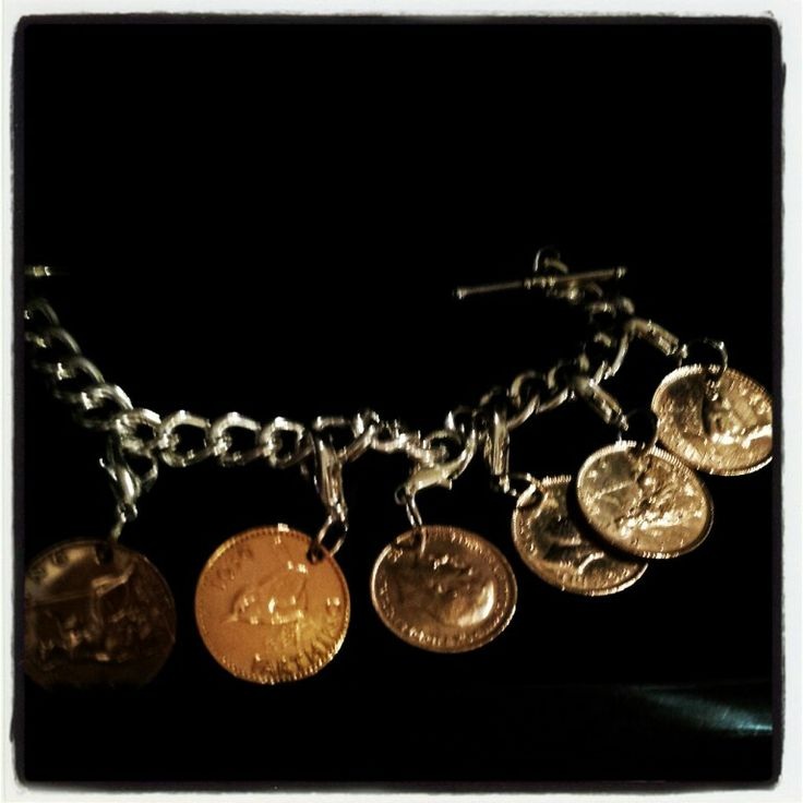 Vintage coin bracelet with irish shillings and sixpence Steampunk Ireland St Georges Market Belfast