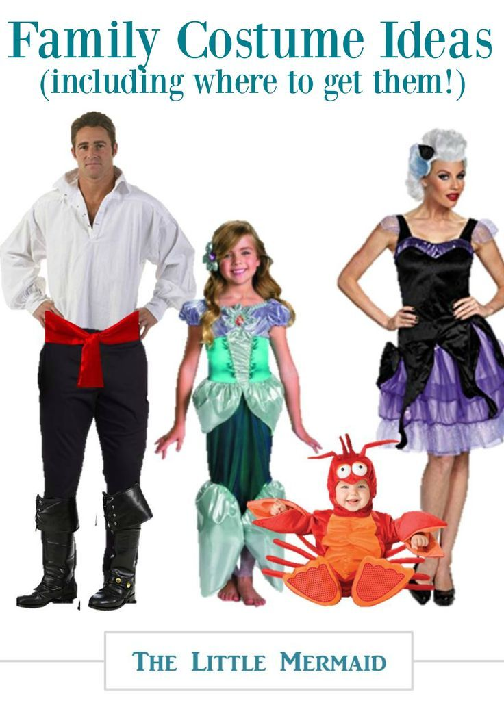 Looking for family costume ideas for 4? Halloween can be SO much fun when you have matching family outfits. Check out this adorable Little Mermaid Halloween Costume Family Set!