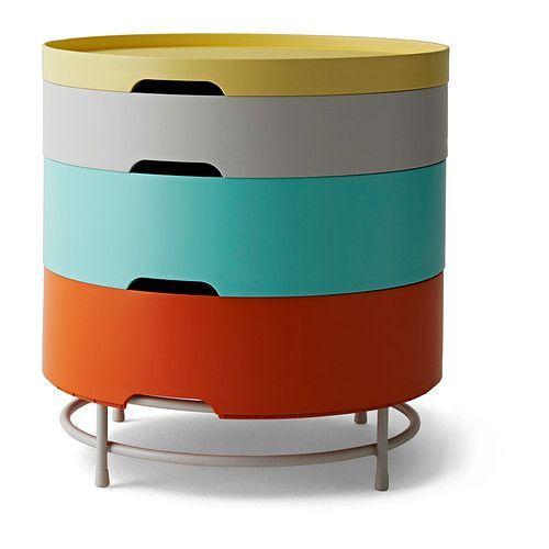 IKEA - IKEA PS 2014, Tavolo/contenitore, multicolore, , Versatile e salvaspazio: i vassoi si sovrappongono formando un tavolino con contenitore.I vassoi hanno diverse profondità e quindi si adattano a diverse esigenze.I piedini di plastica inclusi proteggono il pavimento dai graffi.
