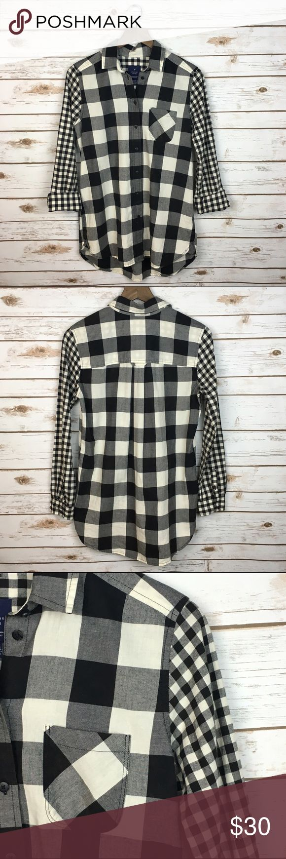 """[AE] Buffalo Plaid Flannel Tunic Shirt Long XS """"Jegging Shirt"""". Soft and cozy buffalo plaid button down with gingham check sleeves. Long sleeves. Pocket on left chest. Perfect with leggings and skinnies.   🔹Fabric: 100% Cotton  🔹Bust: 19"""" 🔹Length: 28"""" - 30"""" 🔹Condition: EUC. Like new. No flaws.  Measurements taken while lying flat. American Eagle Outfitters Tops Button Down Shirts"""
