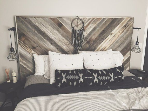 Headboards Etsy Reclaimed Wood Pallet Wood Geometric Boho Rustic Industrial Weathered Bedroom Bed DIY