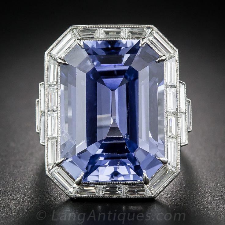 33.06 Carat 'No Heat' Sapphire and Diamond Ring. A breathtaking, bright blue…