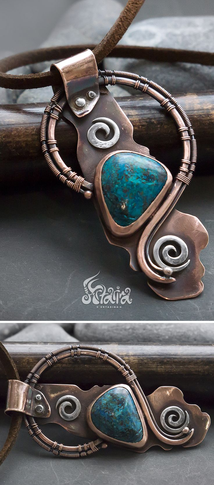 Azurite copper pendant // Copper and silver mixed metals metalsmitted and wire wrapped necklace with azurite // Mixed metals azurite pendant