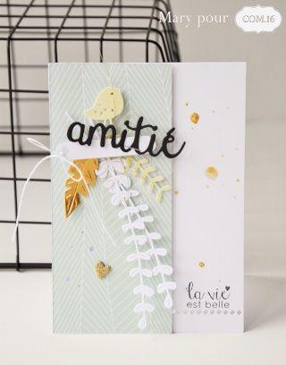 De retour avec une nouvelle carte et un trio d'étiquettes, que vous découvrirez également aujourd'hui sur le blog COM.16 . Un ensemble aux couleurs pastelles avec ce mélange vert d'eau (papier Bertille 15 ) et jaune (papier Léo 12 ), associé au blanc,...