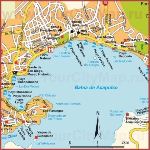 Карта Акапулько с достопримечательностями