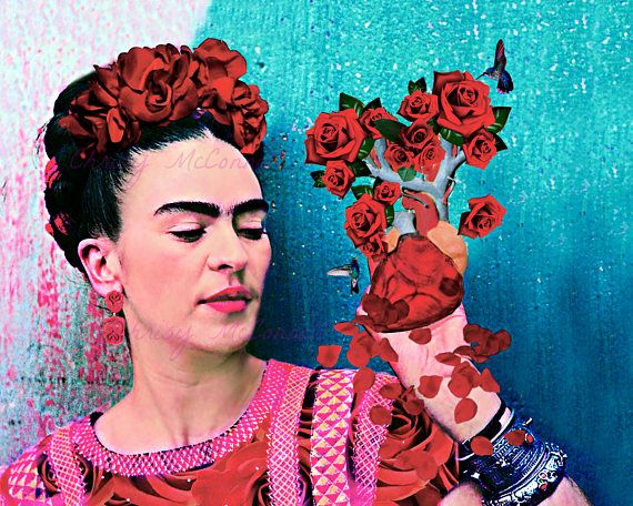 Frida Kahlo Holding Heart Instant Digital Download Poster