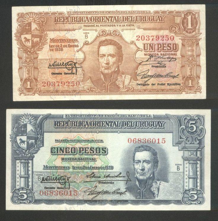 Uruguay 2 Banknote 1 Peso And 5 Pesos 1939 Aun P 35 A And 36