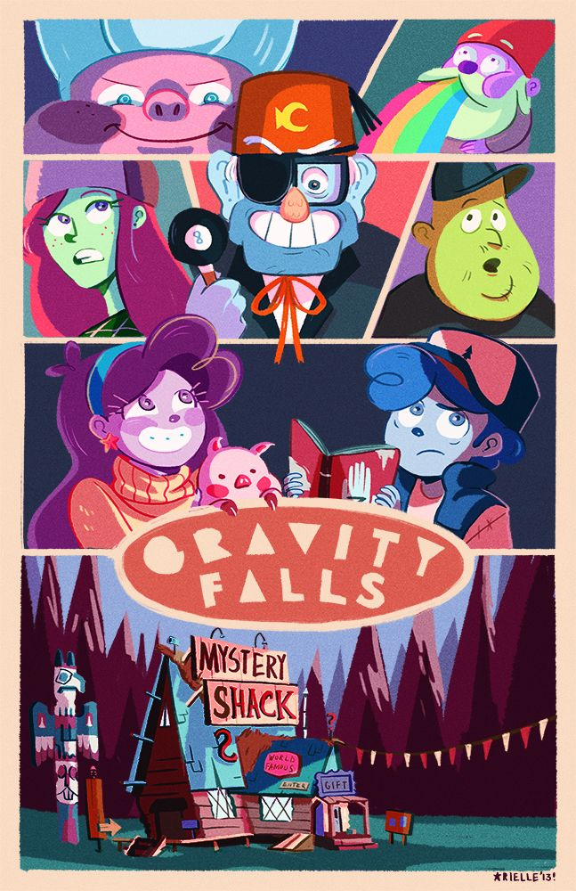 Gideon, a gnome puking rainbows, wendy, Grunkle Stan, soos, mabel, dipper, and of course, the mystery shack. Gravity falls
