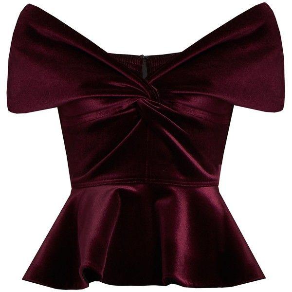 Emilio De La Morena Sassa off-the-shoulder velvet top (£325) ❤ liked on Polyvore featuring tops, blouses, shirts, velvet, burgundy, velvet crop top, purple blouse, burgundy shirt, velvet shirt and purple crop top
