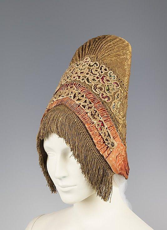 Headdress, fourth quarter 18th century,   Medium: pearl, cotton, metal, silk