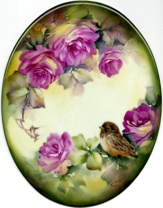 Lorna Maclaren - China Painting - Bird & Roses