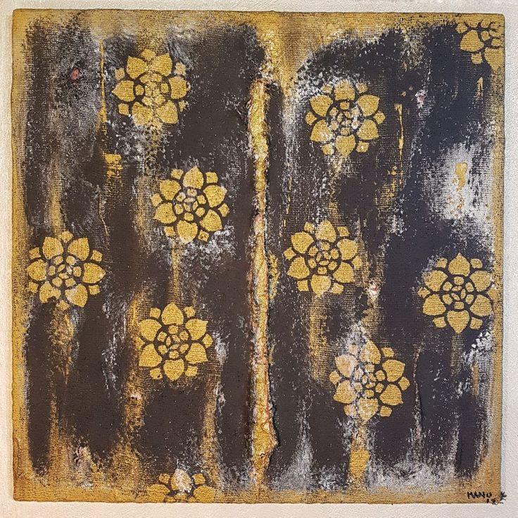 Canvas Calce, juta e oro su legno 70x70