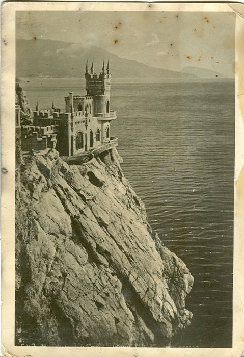 sovietpostcards: Swallow's Nest, a Neo-Gothic châteaux fantastique near Yalta (Crimea, Ukraine). 1930s.