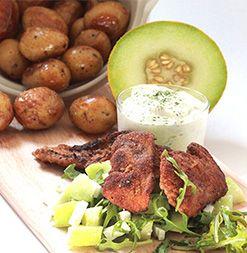 Grillad skinkschnitzel med melon- & fetaostsallad & rostad potatis
