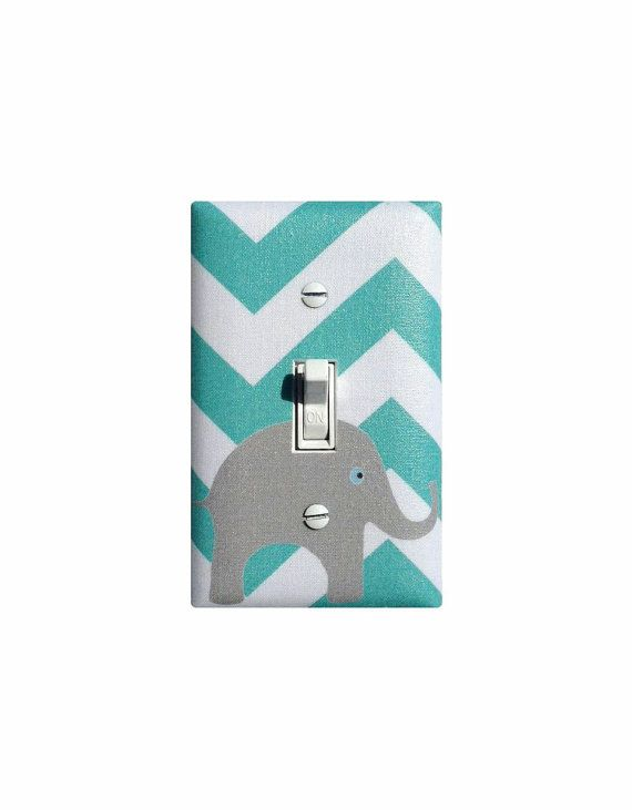 Aqua Gray Chevron Elephant Light Switch Plate / Teal and White Baby Girl Boy Nursery Decor / Slightly Smitten Kitten