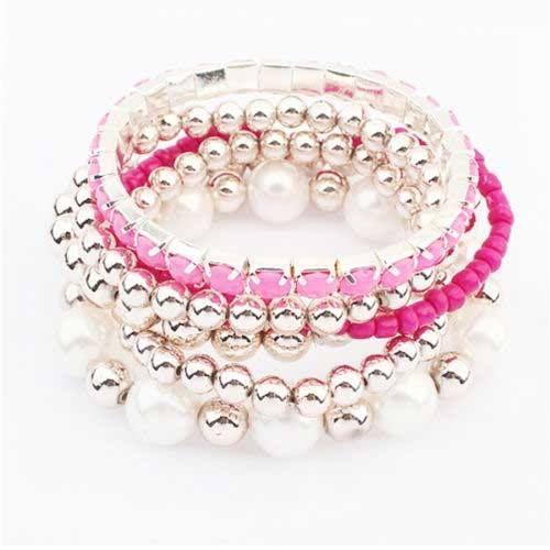 Pulseira rosa com aplicações prata - P1 11,10€ OFERTA DE PORTES DE ENVIO NA COMPRA DE 2 OU MAIS ARTIGOS