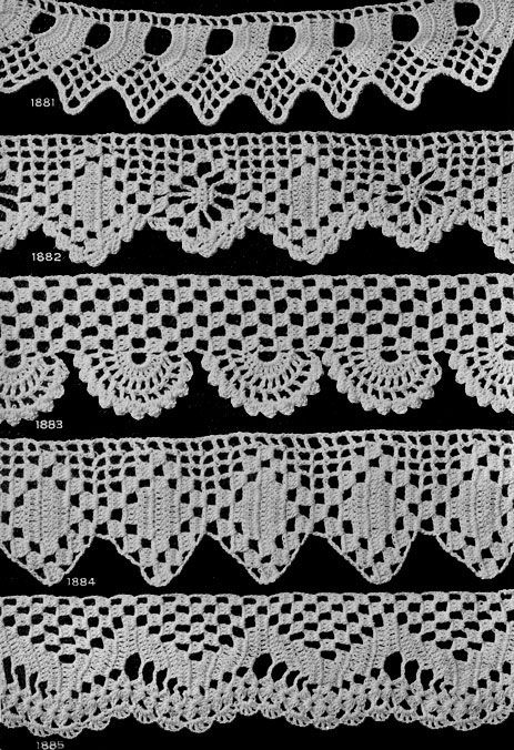 Crochet Edging Patterns for Many Uses Nos. 1881 to 1890 originally published in Star Book of 100 Edgings. #edging #edgingpatterns