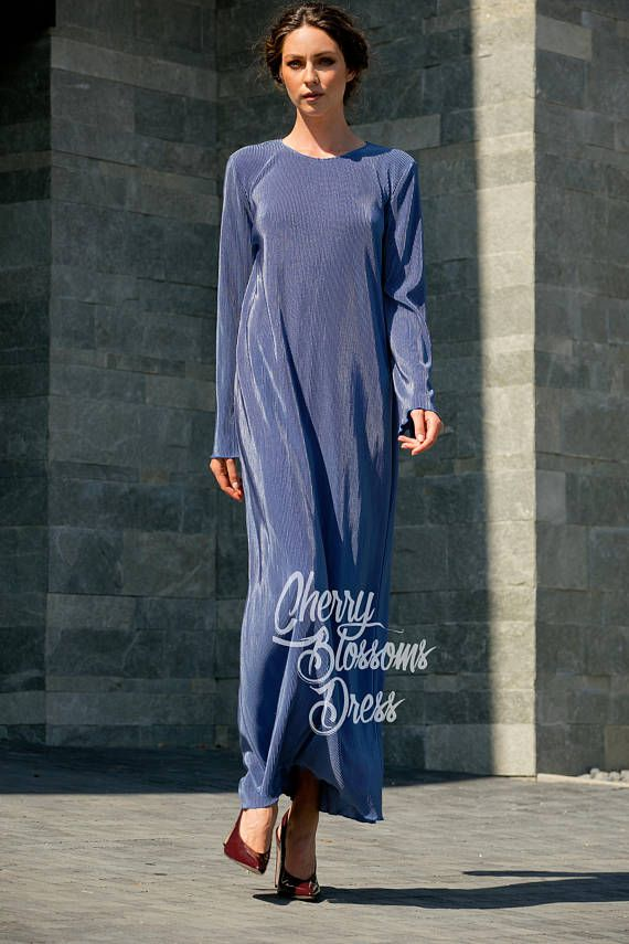 0762667c76e5 Blue Maxi Dress with Long Sleeves Loose Fit Dress in Sizes