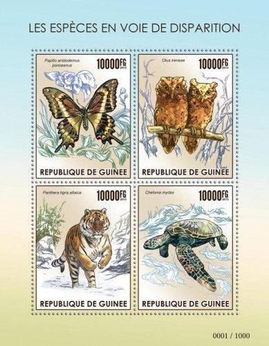 GU15418a Endangered species (Papilio aristodemus ponceanus, Otus ireneae, Panthera tigris atlaica, Chelonia mydas)