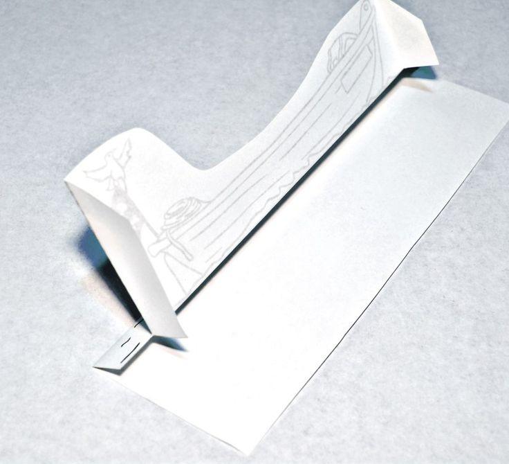 Printable Paper City Pirate Craft - Longboat fold 3