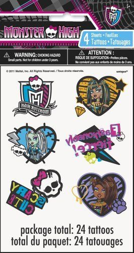 Unique Monster High Tattoo Sheets, 4-Piece by Unique. $4.99. Each package contains 4 sheets of 10 Monster High tattoos.. Ideal for filling loot bags, for handing out as favors or prizes, for trading or sharing for group activities.. Coordinating paperware and accessories include Monster High Beverage Napkins, Plates, Cups, Table Cover, and more, also from Unique.. From the Manufacturer                Colorful Monster High Tattoo Sheets from Unique make great favors and give...