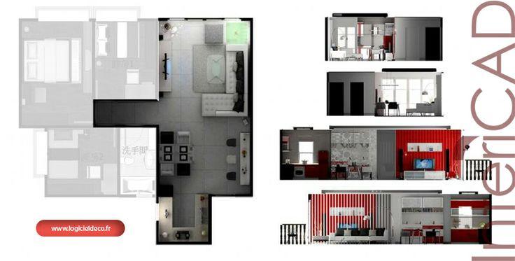 Plans au sol et coupe 3 réalisé avec InteriCAS. Logiciel 3D: www.logicieldeco.fr