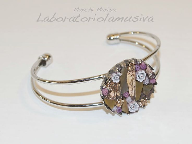bracciale rigido tondo mosaico rosa antico