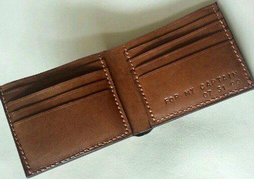 Personalisierte kurze Leder Herrenbrieftasche von AprilHandmade