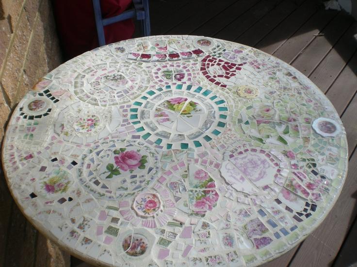 Mosaic Table by romanceandrelics on Etsy. $475.00, via Etsy.: Mosaics Art, Mosaics Tables, Mosaics Fancy, Vintage Wardrobe, China Ideas, Diy Mosaics, Mosaics Ideas, Broken China, China Mosaics