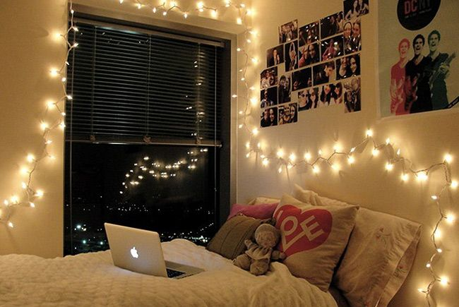 Bedroom Decoration With Fairy Lights and Cozy Bed How To