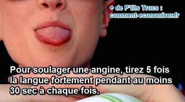 Vous cherchez un p'tit truc pour soulager le mal de gorge dû à une angine ?  Heureusement, il existe un remède très simple pour calmer les douleurs et favoriser la guérison de l'angine. Il s'agit de tirer la langue !   Découvrez l'astuce ici : http://www.comment-economiser.fr/comment-soulager-angine.html?utm_content=bufferf8c25&utm_medium=social&utm_source=pinterest.com&utm_campaign=buffer