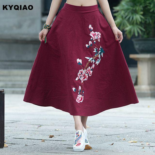 KYQIAO Étnico falda larga 2017 mujeres del resorte del otoño diseños largo rojo negro azul bordado floral una línea de lino falda longuette