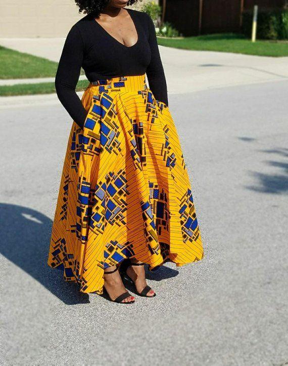 3791276293d African Fabric Hi-low Maxi Circle Skirt; Skater Skirt; Maxi Skirt; African