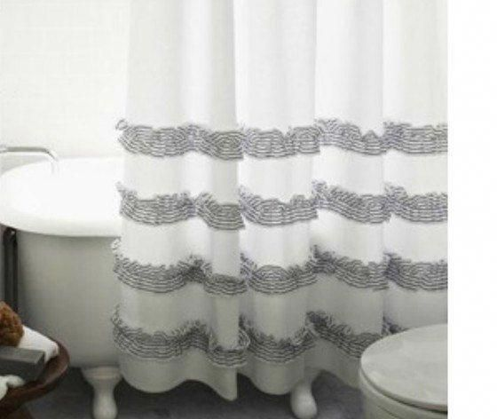 White Shower Curtain With Stone Grey Ticking Stripe Ruffle White
