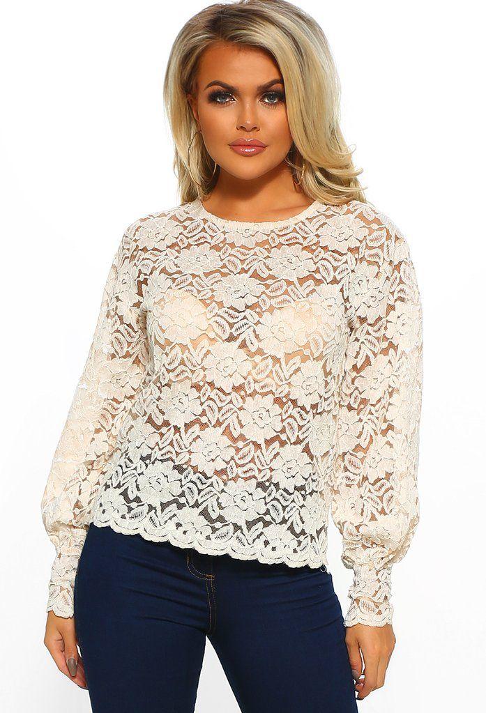 8625b6fe2737c5 Subtle Romance Cream Sheer Lace Long Sleeve Top - 8 in 2019   Fashion