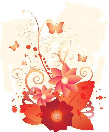April Flowers Vector Graphic — blossom, swirls, floral