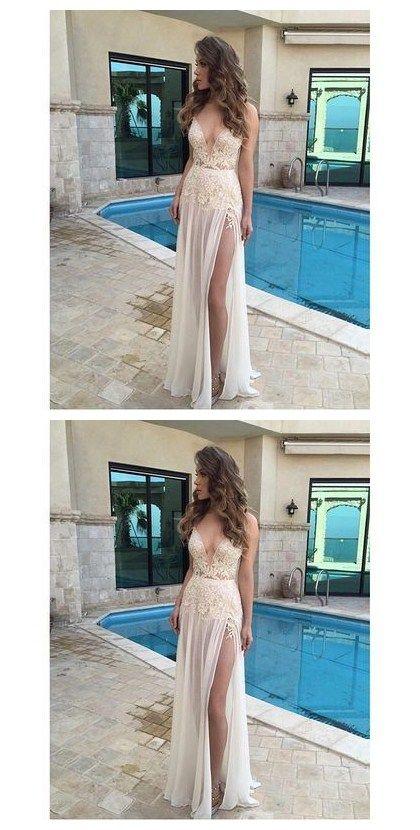 V-Neck A-Line Appliques Sexy Real Made Prom Dresses