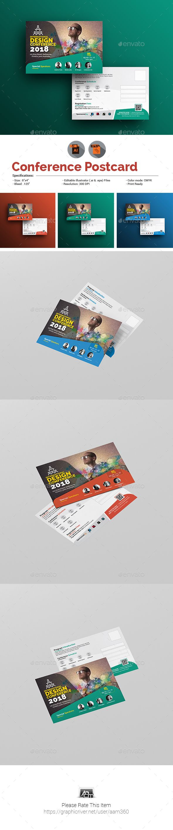 #Conference/Event #Postcard - Cards & #Invites Print Templates