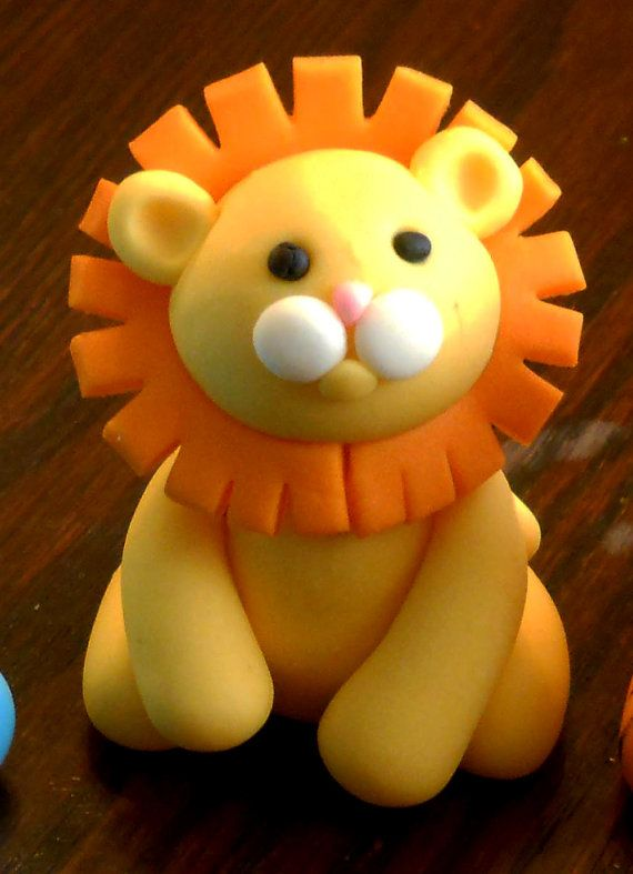 Cute Lion Cake Topper for birthday or baby shower by PfisherDesign