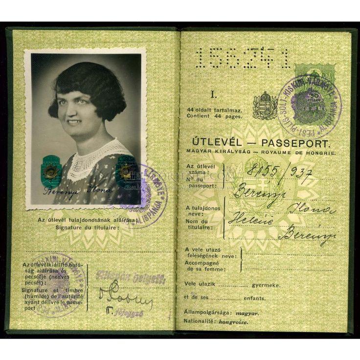 BUDAPEST 1938. Régi fényképes útlevél  /  BUDAPEST 1938 vintage photo passport, 2500 Ft