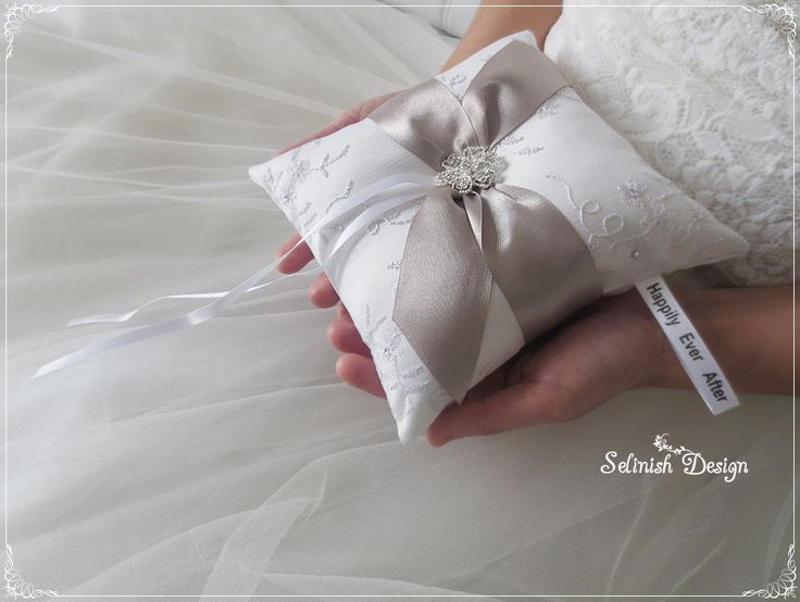 Wedding Ring Bearer Pillow, Grey Ring Pillow, Bridal Ring Pillow- Selinish Design-code: RP154grey by SelinishDesign on Etsy