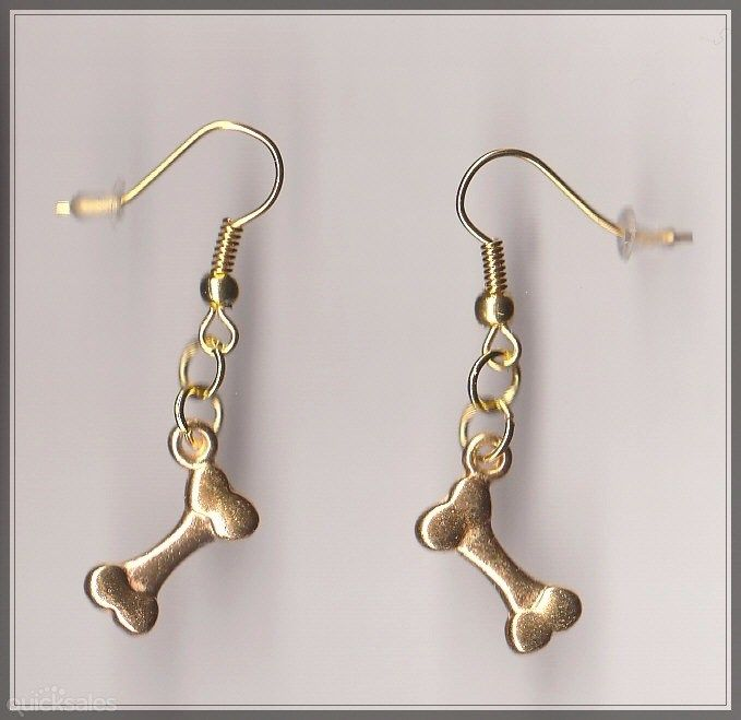 Dog Bone Charm Gold Plated Earrings  by MadAboutIncense - $10.50