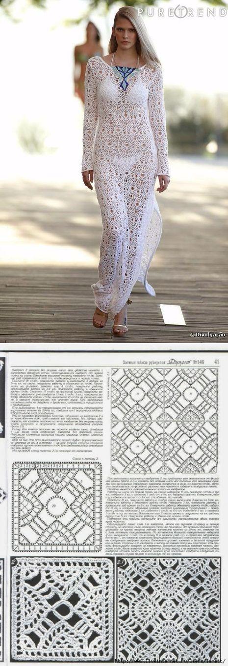 Белое пляжное платье от дизайнера со схемами. Красивое вязаное пляжное платье крючком | Домоводство для всей семьи.