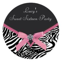 Pink Zebra Birthday Party Card