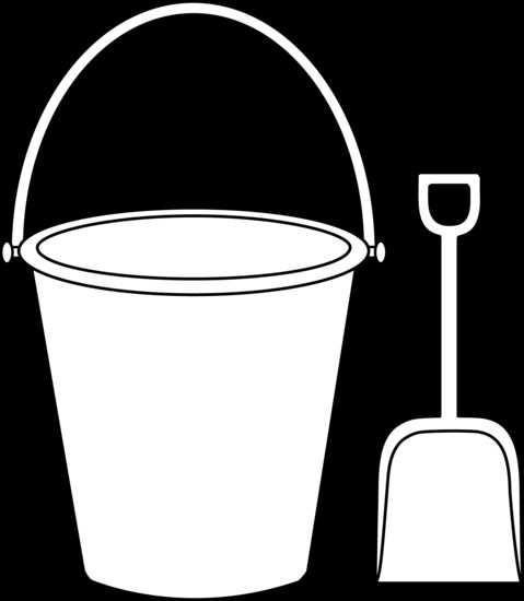 Pattern of a sand bucket and shovel | Kids Colorable Pail and Shovel - Free Clip Art