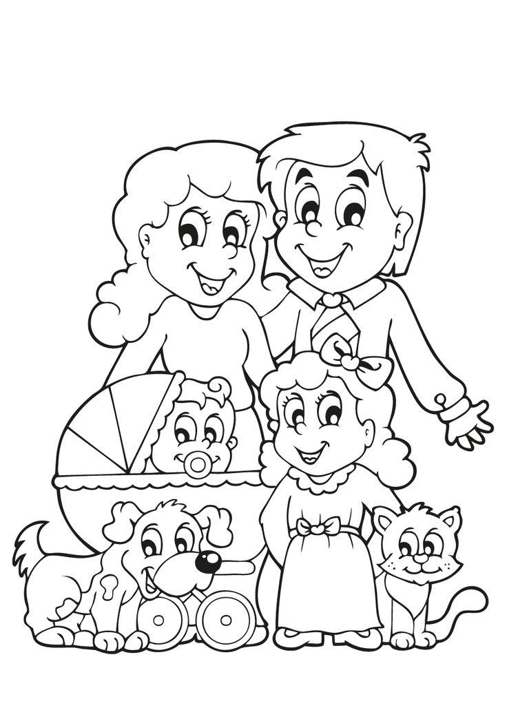 een leuke kleurplaat voor kinderen waar het hele gezin op