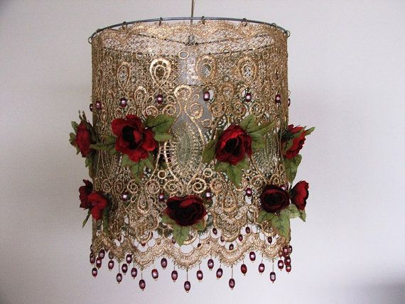 Red Gold and GreenRomantic  Anemones Lamp shade by AnatBon on Etsy