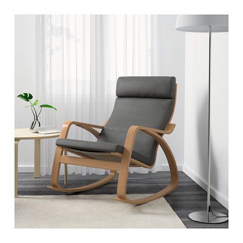 POÄNG Sedia a dondolo - Finnsta grigio, impiallacciatura di faggio - IKEA