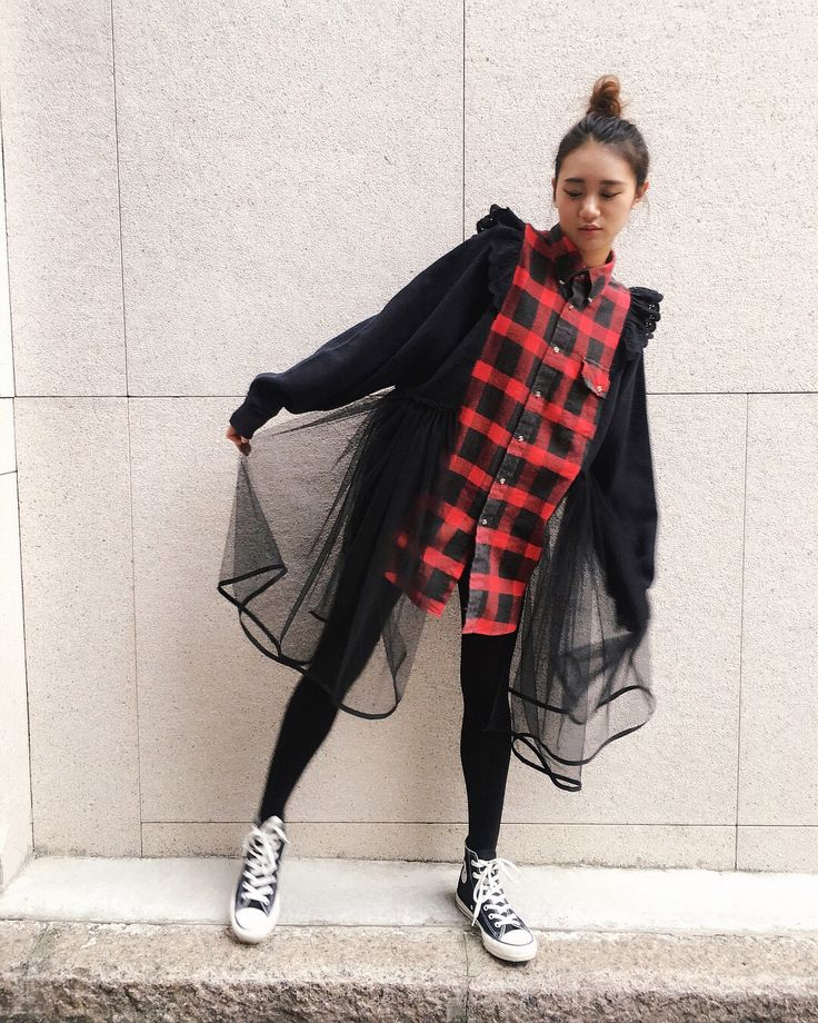 """67 Likes, 1 Comments - microwave マイクロウェーブ (@microwavehk) on Instagram: """"13 Nov -NEW IN- #microwavehk #マイクロウェーブ #vintage #remake Buffalo Checker Shirt Tulle Dress . . .…"""""""