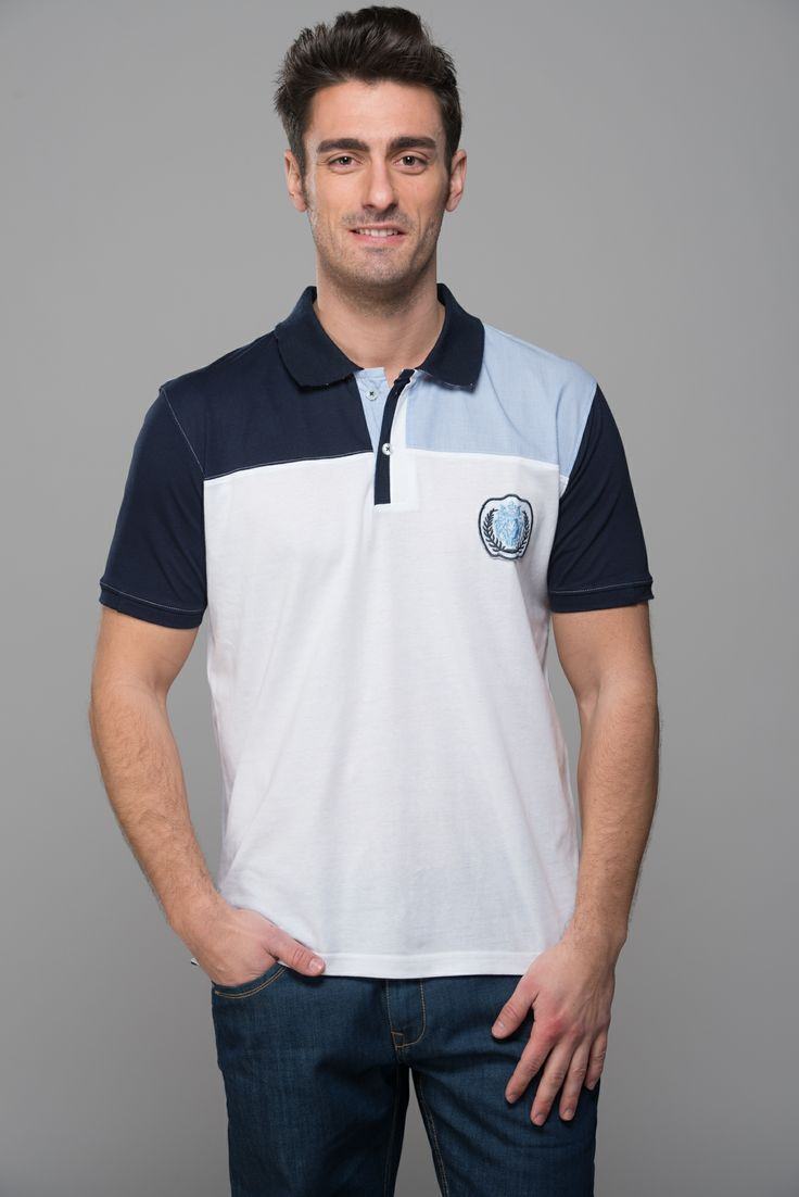 M951219.  A perfect polo which blends soft jersey along with classic yarn dyed woven stripes to give you the urban chic look. classic white and blue combination, good to go with Mavango trousers and jeans alike.